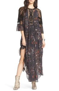 Free People Tattered Edges Beaded Sleeves Retro Glamour Dress