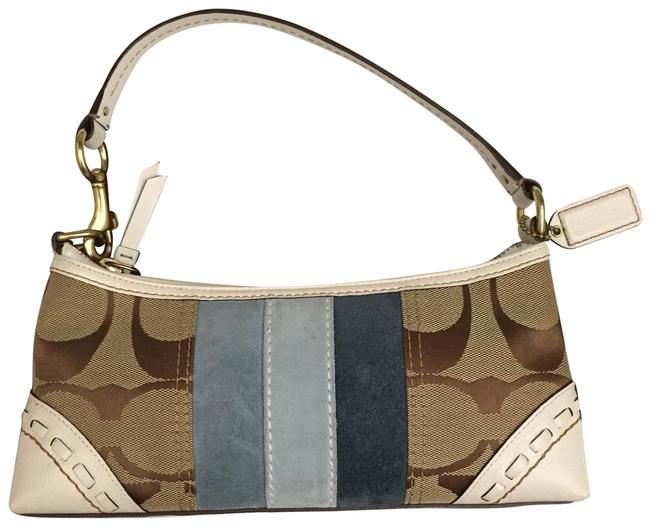 Item - W Signature In Khaki and W/Blue Trim White Beige Blue Monogram Canvas Leather Suede Baguette