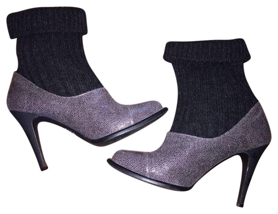 Stella Runway McCartney Burgundy & Black Runway Stella Ankle with Knitted Cuffs Boots/Booties d072d3