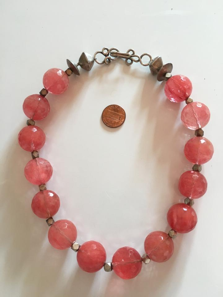 Pink Vintage-faceted-rose-quartz-large-sphere-necklace Vintage-faceted-ro  Necklace