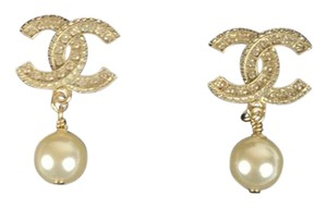 Chanel Chanel CC Logo Stud Earrings with Pearl and Crystals
