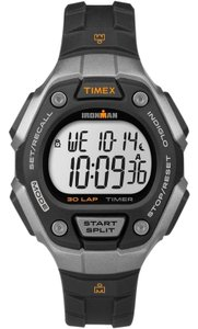 Timex TW5K89200 Ironman Men's Black Rubber Band With White Digital DiaL