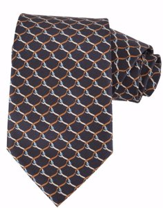 Gucci NEW Gucci Men's 349414 Black Orange Blue Belts Silk Twill Neck Tie