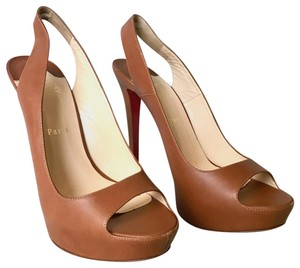 Christian Louboutin Cheyenne Slingback Leather Brown Pumps
