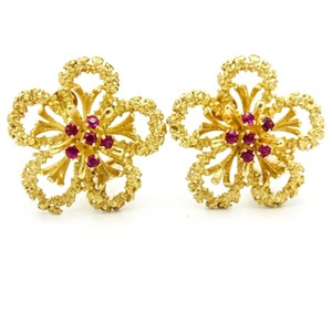 Cartier Cartier Flower Earrings with Rubies in 18k Yellow Gold Vintage Jewelry