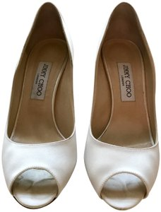 Jimmy Choo Satin Open Toe Classic Ivory Formal