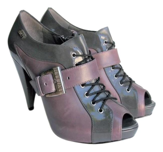 Item - Grey Leather Patent Leather Platform Ankle Boots/Booties Size EU 39 (Approx. US 9) Regular (M, B)