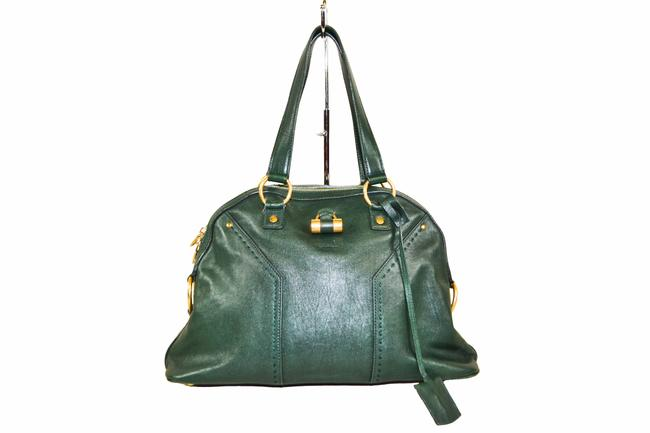 Saint Laurent Bag Muse Ysl Green Leather Tote Saint Laurent Bag Muse Ysl Green Leather Tote Image 1