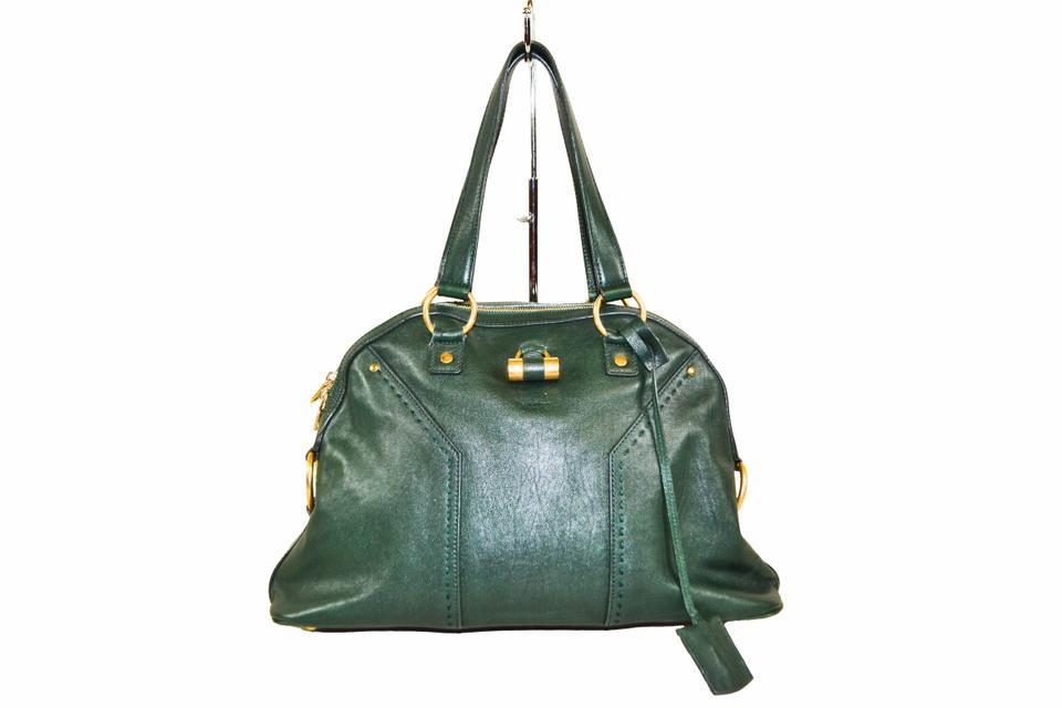 Saint Laurent Muse Ysl Green Leather Tote - Tradesy a9b0d1594ce18