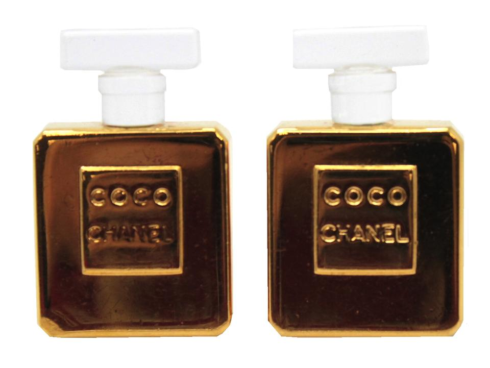 Chanel Gold 15811 Ultra Rare Coco Perfume Bottle Logo Clip On