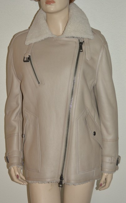 Burberry Women's Shearling Natural White Leather Jacket Image 3