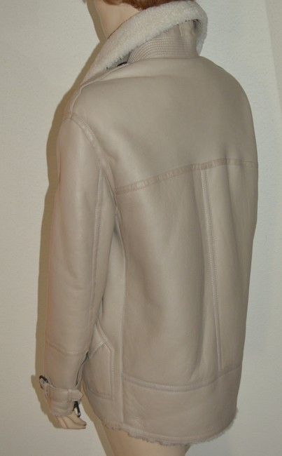 Burberry Women's Shearling Natural White Leather Jacket Image 4