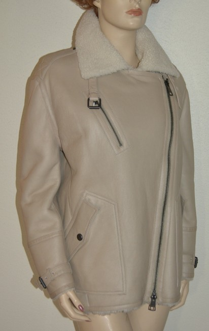 Burberry Women's Shearling Natural White Leather Jacket Image 5