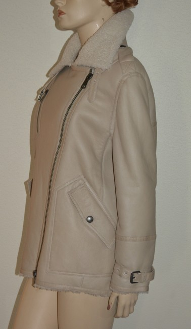 Burberry Women's Shearling Natural White Leather Jacket Image 8