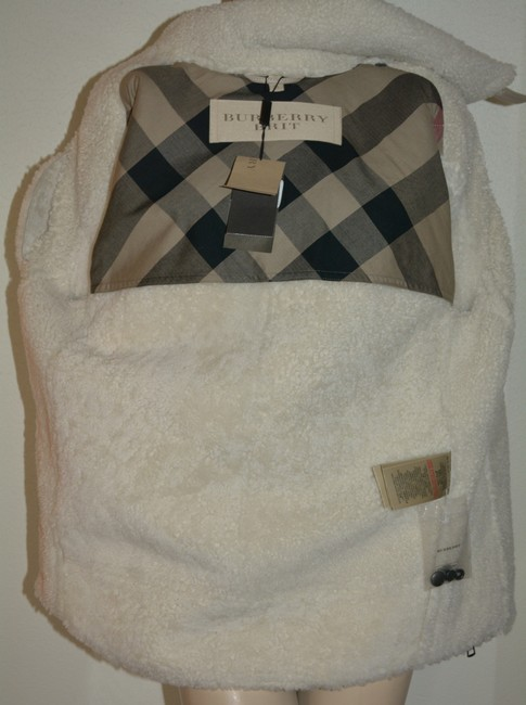 Burberry Women's Shearling Natural White Leather Jacket Image 9