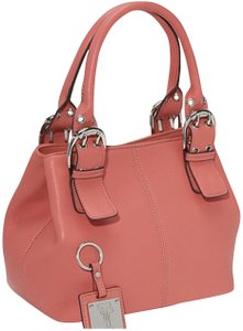 Tignanello Pebbled Leather Milly Orange Studded Tote in Coral