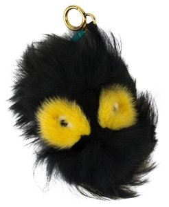 Fendi FENDI Black/Yellow Fur Monster Ball Handbag Key Charm