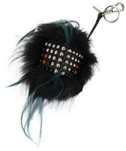 Fendi FENDI Black/Green Fur Studded Handbag Key Charm