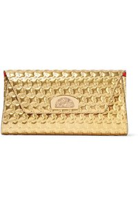 Christian Louboutin Leather Chain Strap Embossed Gold Clutch
