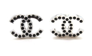 Chanel #15823 CC silver with black crystals clip on earrings