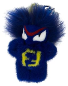 Fendi FENDI Blue Fur Fendirumi Micro Monster Handbag Key Charm