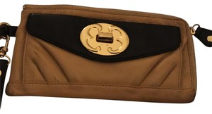 Emma Fox Leather Wristlet in Beige and Black
