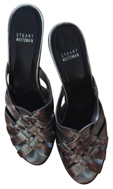 Item - Silver Backless Heels Studded Metallic Leather Sandals Size US 9 Narrow (Aa, N)