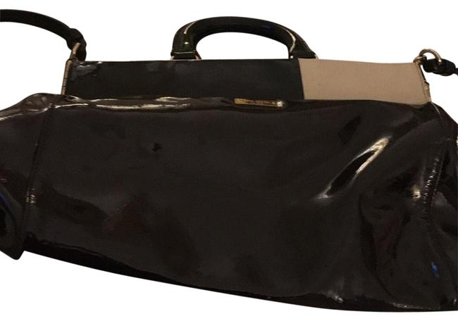 Item - Travel Or Very Important Meetings Chocolate Beige and Black Patent Leather Satchel