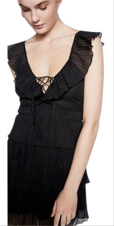 Express Black Women\'s Lace-up Ruffle Fit & Short Cocktail Dress Size ...