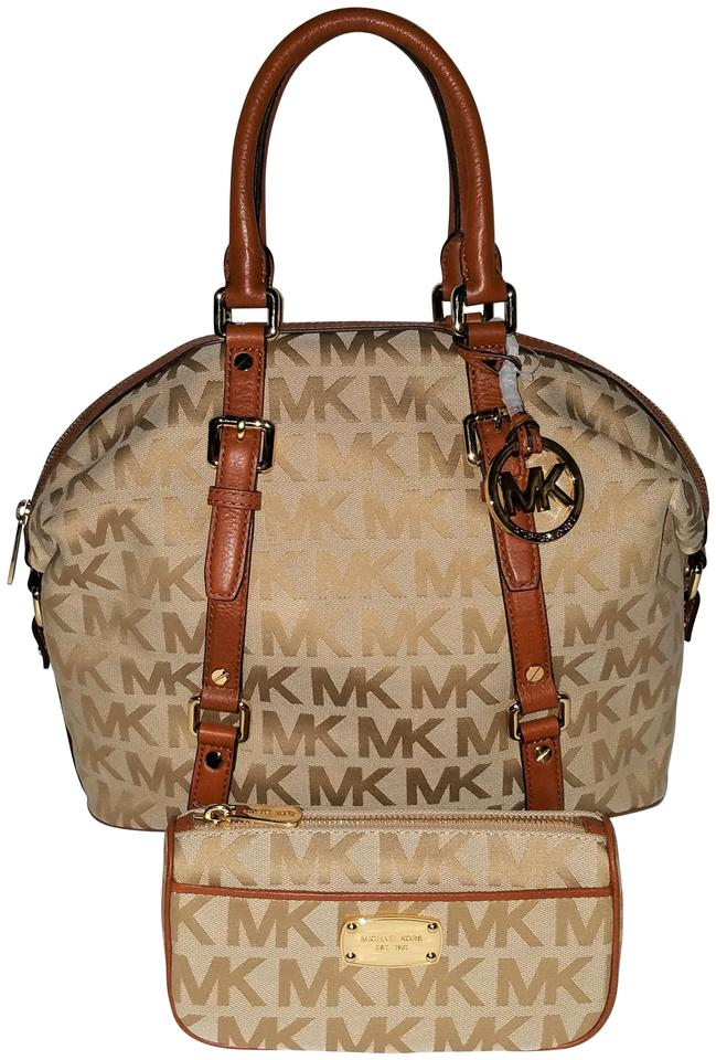 Michael Kors 2 Pc New Bedford Cosmetic Case Beige Camel Luggage Jacquard  Satchel 2e24dcca7c78b