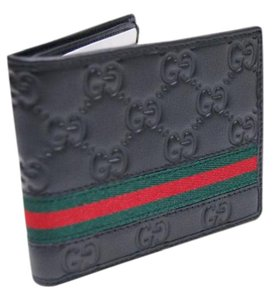 Gucci Men's Black Guccissima Leather Web Bifold Wallet purse clutch