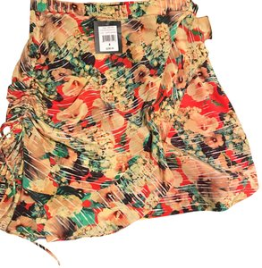 Nanette Lepore Whimsy Ruched Multi-colored Poppy Red Skirt multi