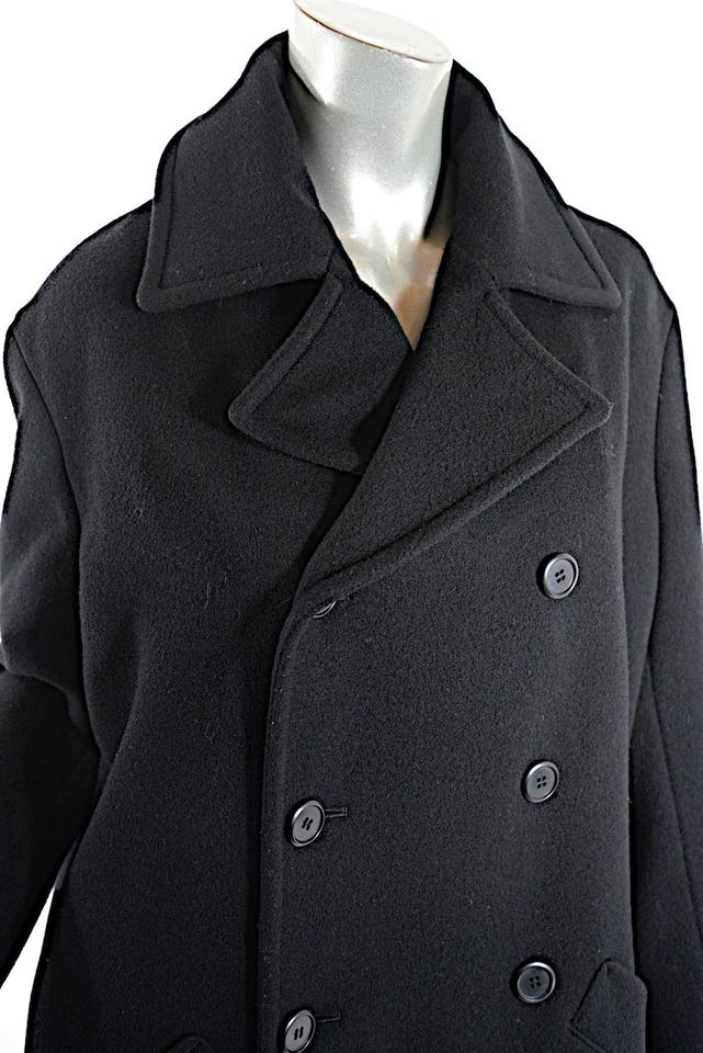 678785d357 Yohji Yamamoto Black Y's Wool Nylon Blend Double Breasted Relaxed Coat Size  8 (M)