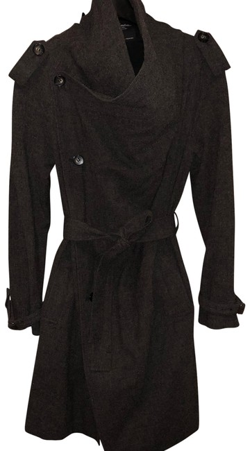 Item - Gray Military Robe Belted Wool Coat Size 10 (M)