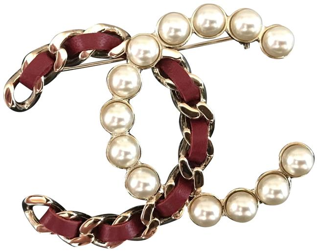Chanel Gold Leather and Imitation Pearl Cc Brooch Chanel Gold Leather and Imitation Pearl Cc Brooch Image 1