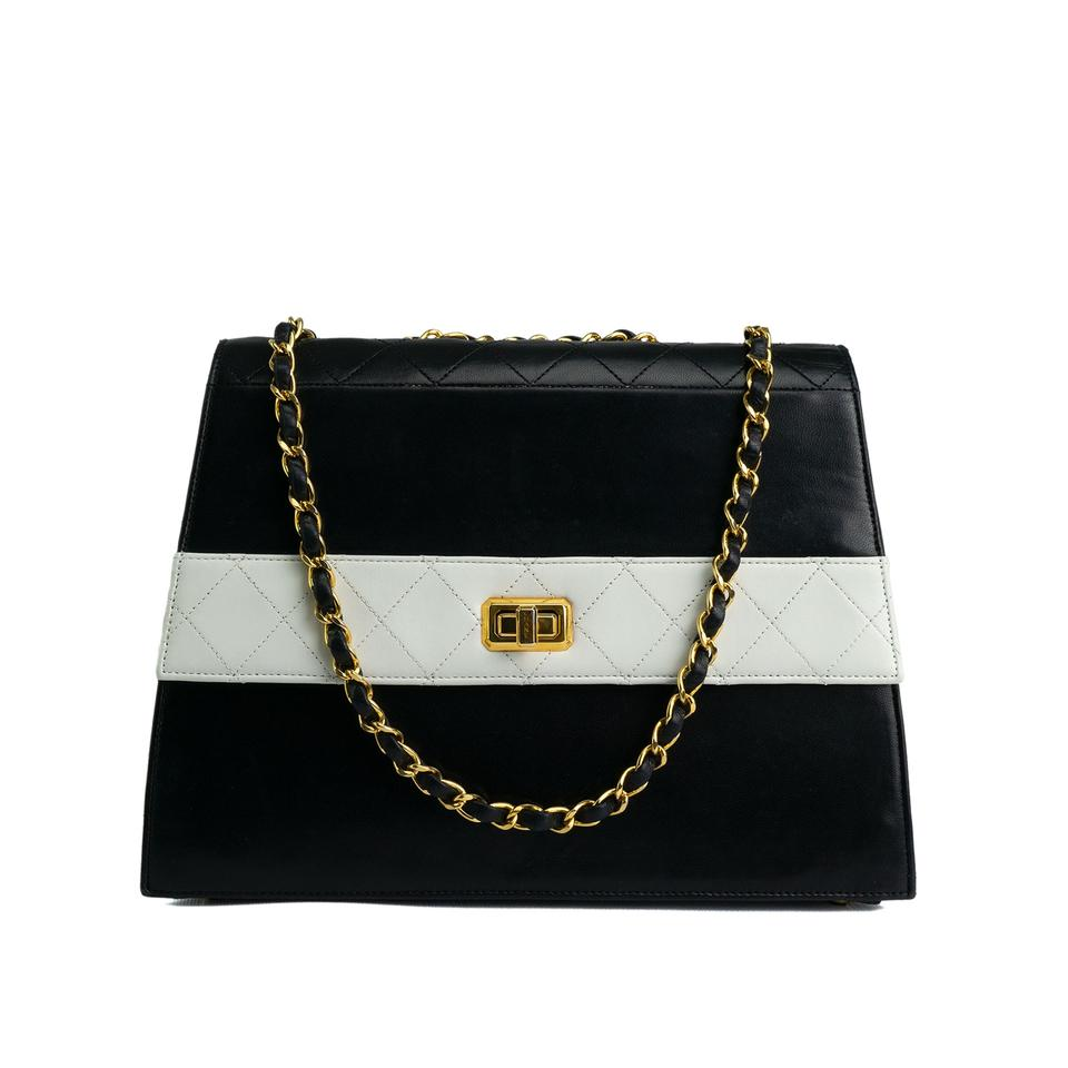 29a89d5e5088 Chanel Quilted Two Tone Vintage Rare Flap Black and White Lambskin ...