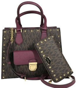 Michael Kors Bridgette Mk Studded Wallet Tote in Brown/Plum