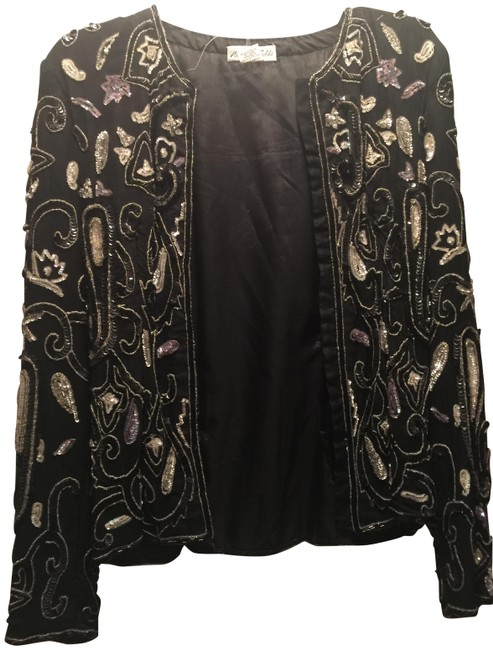 Marshall field's Vintage Silk Sequin And Blazer Top Black white Image 1