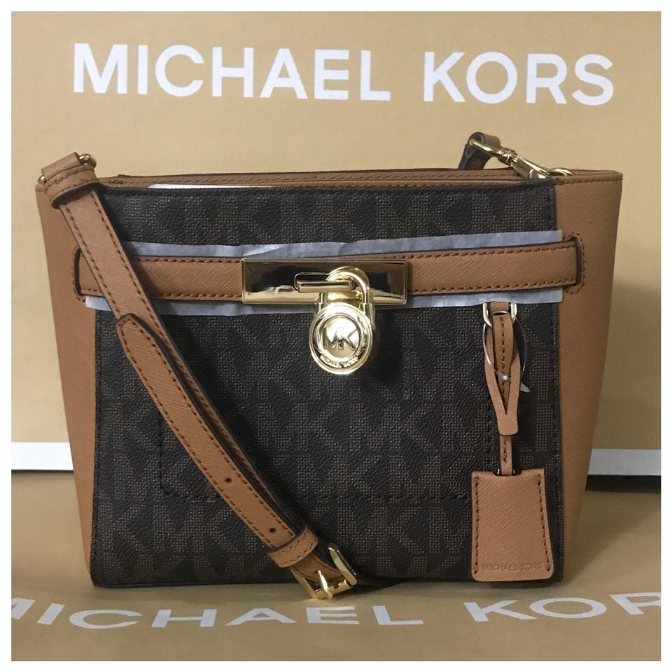 f3c87d006dec Michael Kors Mk Hamilton Traveler Medium Messenger Brown Cross Body ...
