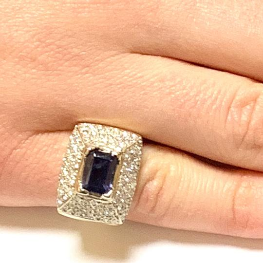 Estate CERTIFIED 2700 ESTATE LADIES EMERALD CUT AMETHYST DIAMOND 10KT RING Image 2