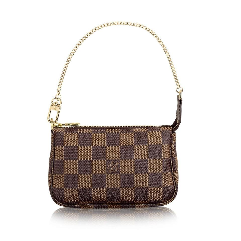 Louis Vuitton Pochette Mini Pouch Wristlet In Damier Ebene Brown
