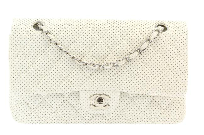 Item - Classic Flap Medium Perforated White Leather Cross Body Bag