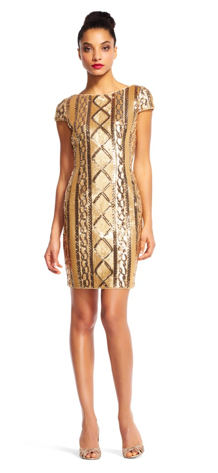 66be0d00df3 Adrianna Papell Gold Cap Sleeve Sequin Short Cocktail Dress Size 6 ...