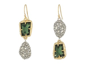 Alexis Bittar ALEXIS BITTAR Gold Green Amethyst Stone Mismatched Stone Wire Earrings