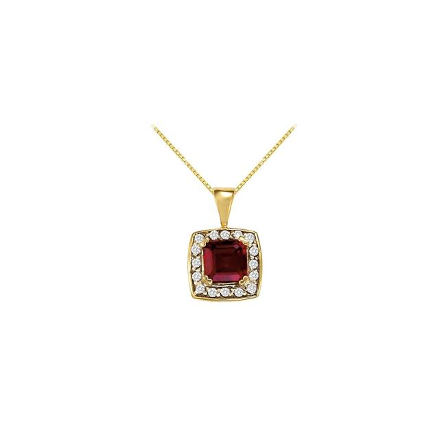 Red Yellow Fancy Square Garnet and Cubic Zirconia Halo Pendant In 14k Gold Necklace Red Yellow Fancy Square Garnet and Cubic Zirconia Halo Pendant In 14k Gold Necklace Image 1