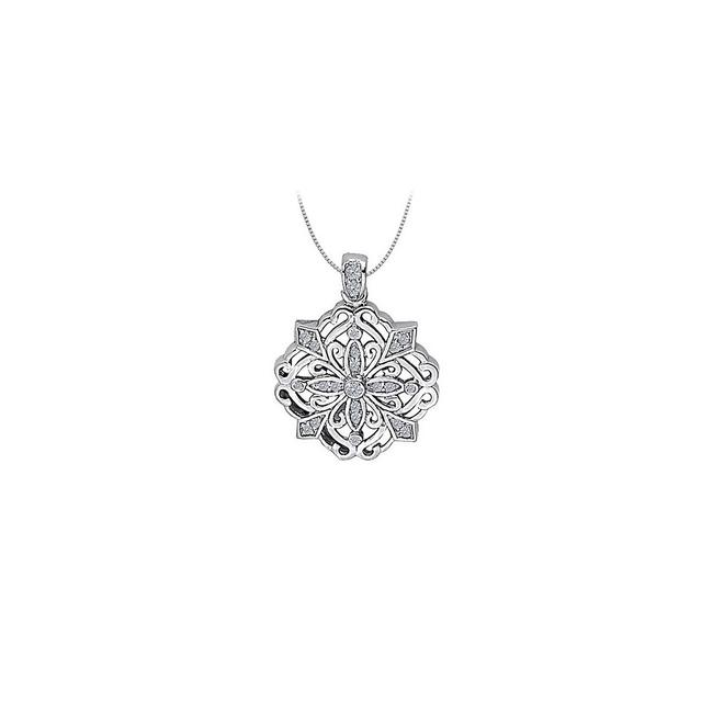 White Silver Cubic Zirconia Square Shaped Pendant In Sterling 0.25 Ct Tgwper Necklace White Silver Cubic Zirconia Square Shaped Pendant In Sterling 0.25 Ct Tgwper Necklace Image 1