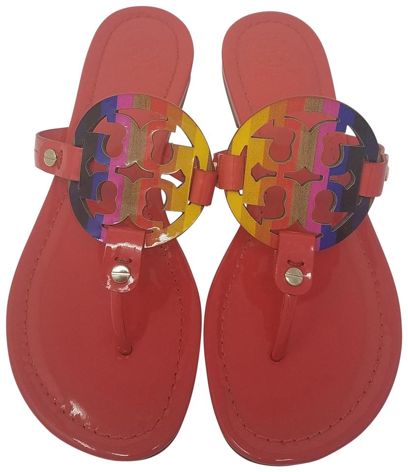 ab688eb49 Tory Burch Red Black Multicolor Patent Leather Miller Sandals Size ...