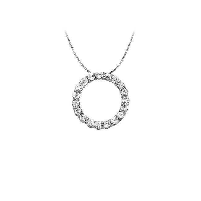 White Silver Cubic Zirconia Circle Pendant In 925 Sterling 1. Necklace White Silver Cubic Zirconia Circle Pendant In 925 Sterling 1. Necklace Image 1