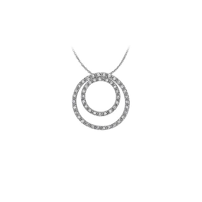 White Silver Marvellous Cubic Zirconia Double Circle Pendant In Sterling Wit Necklace White Silver Marvellous Cubic Zirconia Double Circle Pendant In Sterling Wit Necklace Image 1