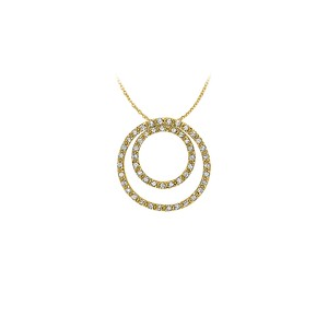 Marco B April Birthstone Cubic Zirconia Double Circle Pendant in Yellow Gold V
